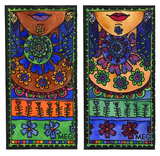 2 Lino prints of women's necks with different colourful patterns
