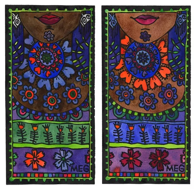 Two ladies decorated in beautiful colourful patterns
