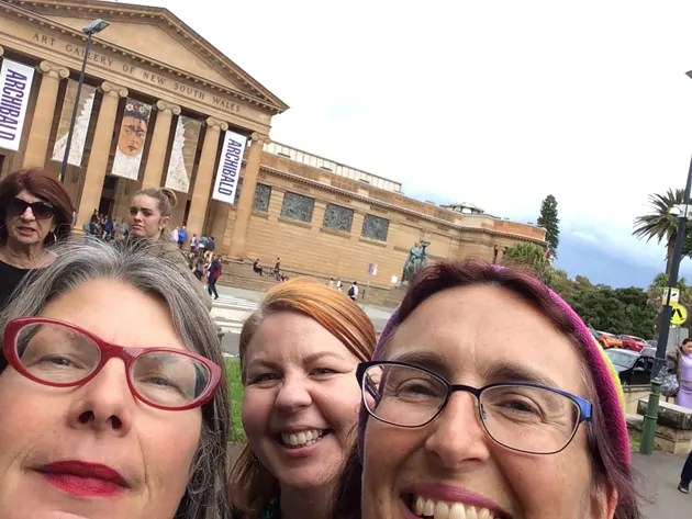 3 Smiling Women outside the Art Gallery of New South Wales