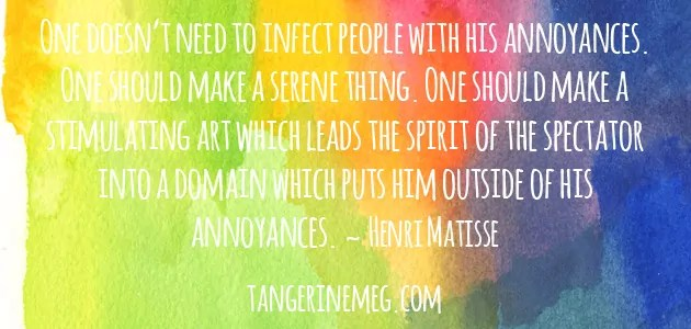 Quote by Matisse on a watercolour rainbow background