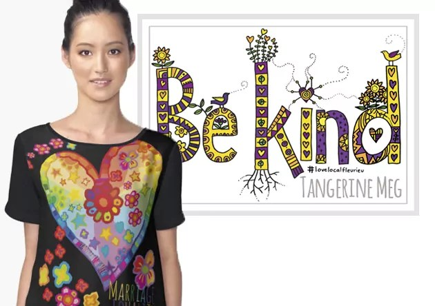 "Woman in Marriage Equality top beside a poster of a marker drawing with patterned yellow and purple lettering spelling out ""Be Kind"""