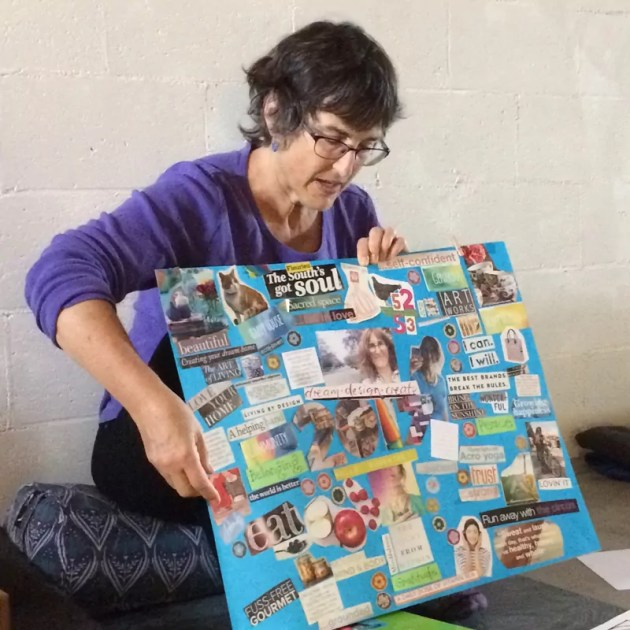 tangerine meg showing her last years vision board