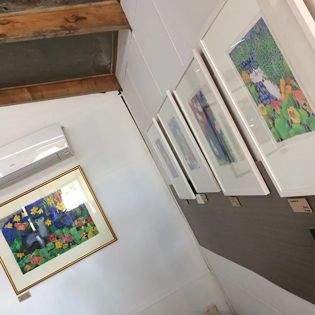 A tilted camera shot of the mini exhibition at fleurieu roast