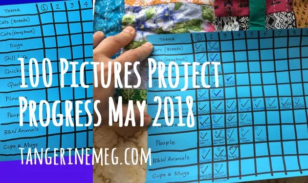 At left is a pristine chart on blue paper with a 10 x 10 grid of themes down the left hand side and numbered 1 to 10 across the top, at right a hand holds the same chart months later with many ticky boxes filled in!