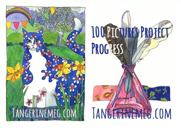 at left an almond blossom cat and at right is a pink bottle with 5 feathers, all done in pen and watercolour