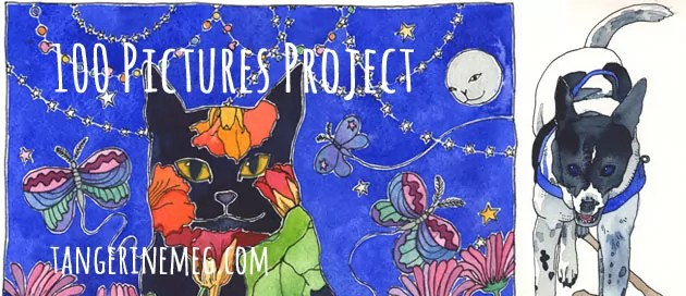 """Project in progress image, with black cat under a night sky at left, and painted happy dog at right; overlaid with text reading """"100 Pictures Project"""" and the URL tangerinemeg.com"""