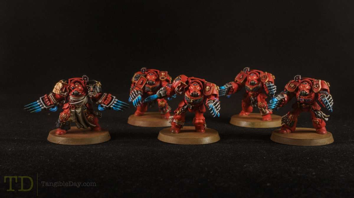 Studio photograph - Painting blood angel space marines for warhammer 40k - terminators
