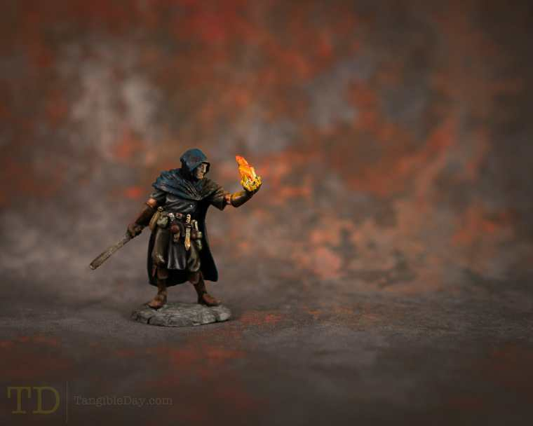 Mage with fiery object source lighting effect