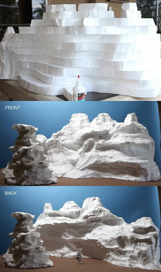 3 Awesome Ways to Make Wargaming Terrain (Cheap, Easy, and Free) - low cost cheap DIY wargaming terrain for Warhammer 40k, Age of Sigmar, and other tabletop games, DND terrain making, dungeon and dragon terrain for RPG - hot wire cut foam terrain