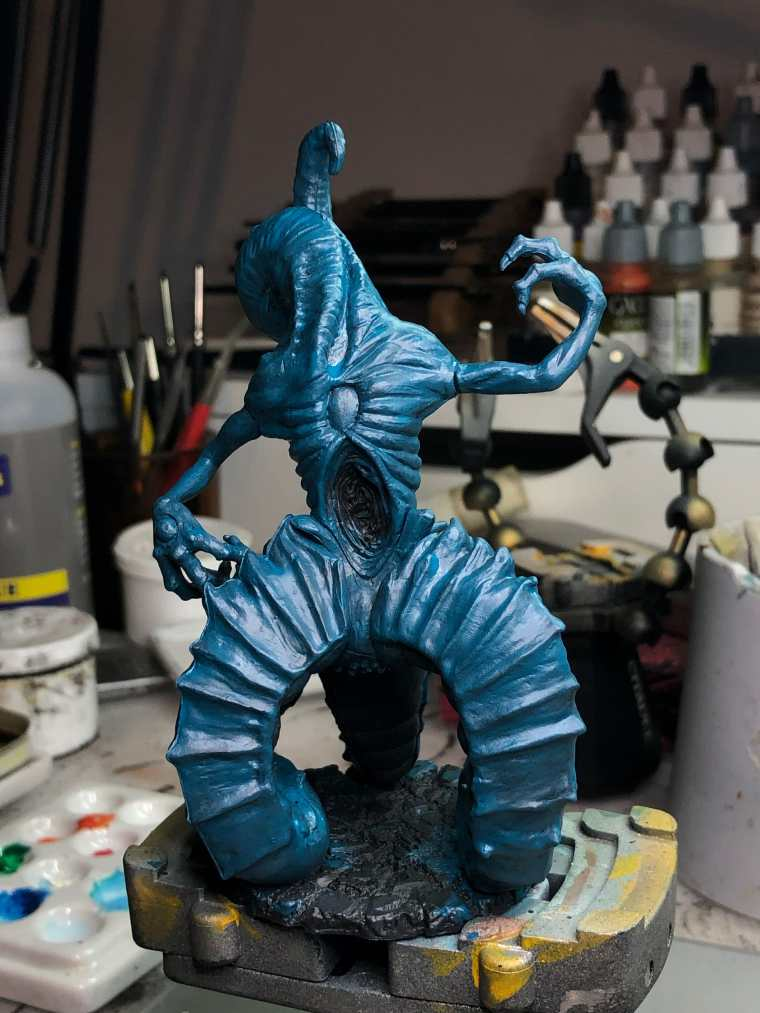How to Paint Board Game Miniatures: Cthulhu Wars  - 3. Basecoat with your primary color - Base coat finished - lovely weirdness!