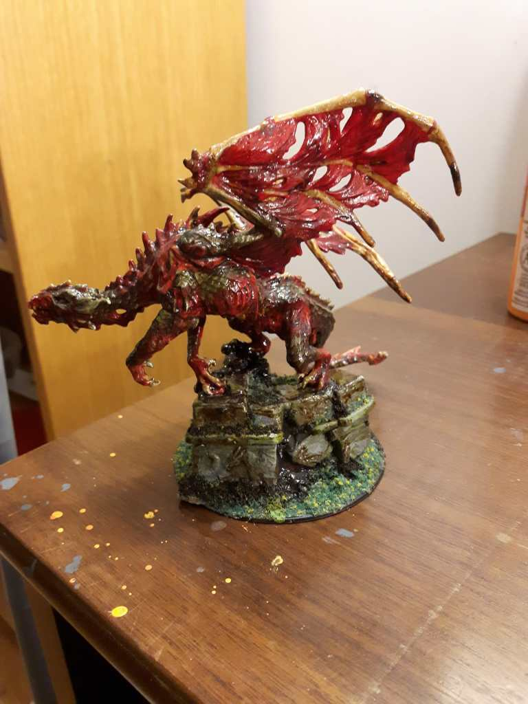 How to paint with coffee - painting miniatures with coffee - undead dragon painted with coffee wash