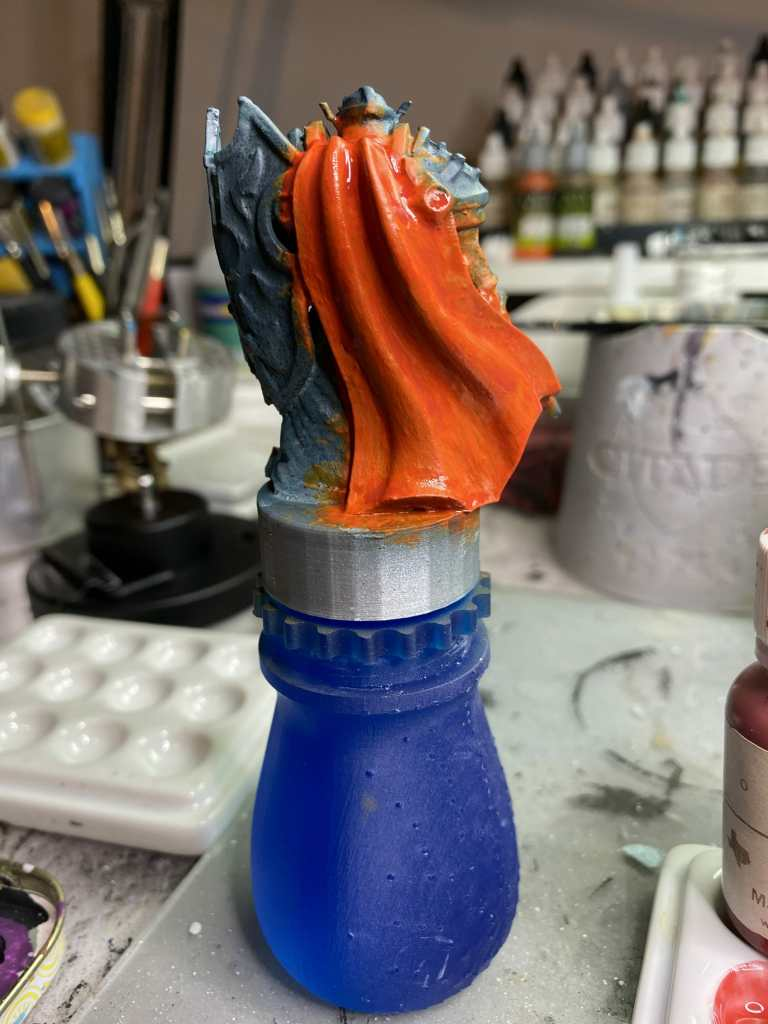 How to smooth 3D prints without sanding - PLA 3D print smoothing without primer filler sanding - how to get rid of 3D print lines - glazing and layering blends on 3d printed models and miniatures - red cloak