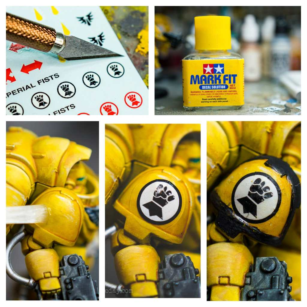 How to Paint Yellow Space Marines (Easy and Fast) - how to paint yellow models and miniatures - Imperial fist how to use and apply wet transfer decals for shoulder application