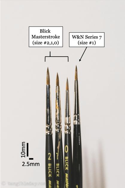 Best Alternative to Winsor & Newton Series 7 Brushes for Painting Miniatures - cheap sable kolinsky sable brushes for painting miniatures - good budget brushes for painting miniatures - 0 thru 2 brush size blick masterstroke vs series 7