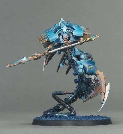 Necron Paint Schemes - 9 Color Motifs - how to paint Necrons - color schemes for Necrons, Necron Warriors, Sautekh or Zathanor Dynasty, and Necron dynasties - Indomitus Warhammer 40k Necron range color palette - 9 color schemes for Necron models and miniatures from Citadel Games Workshop - blue necron airbrushed