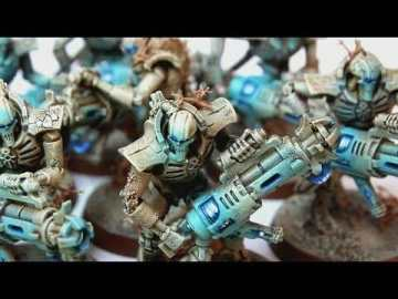 Necron Paint Schemes - 9 Color Motifs - how to paint Necrons - color schemes for Necrons, Necron Warriors, Sautekh or Zathanor Dynasty, and Necron dynasties - Indomitus Warhammer 40k Necron range color palette - 9 color schemes for Necron models and miniatures from Citadel Games Workshop - blue osl