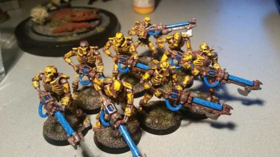 Necron Paint Schemes - 9 Color Motifs - how to paint Necrons - color schemes for Necrons, Necron Warriors, Sautekh or Zathanor Dynasty, and Necron dynasties - Indomitus Warhammer 40k Necron range color palette - 9 color schemes for Necron models and miniatures from Citadel Games Workshop - warriors yellow