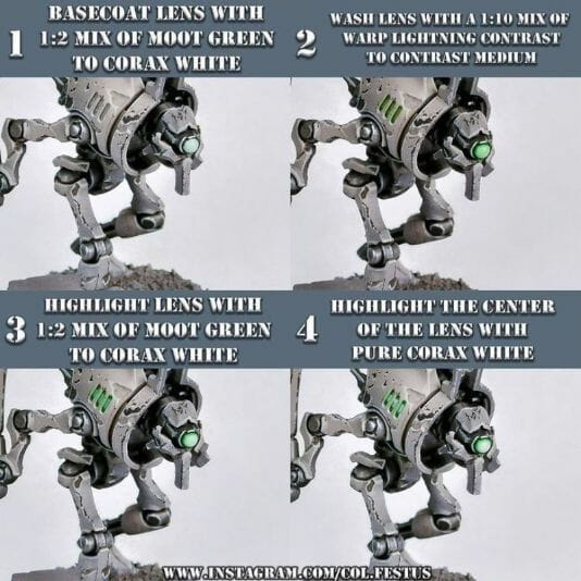 How to paint necrons simple easy fast - tutorial for painting necrons - necron paint schemes - necron color scheme - green dark grimdark color scheme - how do you all paint necrons how do you paint new necrons are necrons easy to paint - lenses glowing