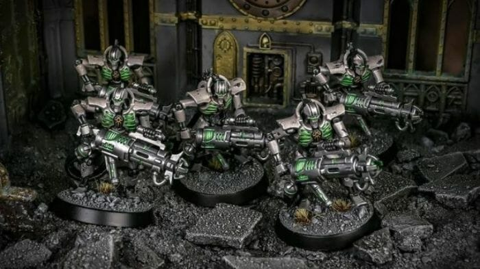 How to paint necrons simple easy fast - tutorial for painting necrons - necron paint schemes - necron color scheme - green dark grimdark color scheme - how do you all paint necrons how do you paint new necrons are necrons easy to paint - group photo