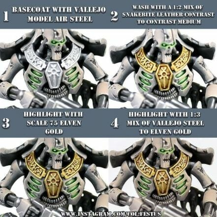 How to paint necrons simple easy fast - tutorial for painting necrons - necron paint schemes - necron color scheme - green dark grimdark color scheme - how do you all paint necrons how do you paint new necrons are necrons easy to paint - how to paint gold metallic