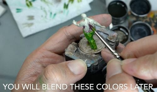 Painting a zombie RPG miniature with oil paints - painting RPG miniatures - oil painting miniatures - origin miniatures - how to paint rpg miniatures - how to paint dungeon and dragons miniatures - painting miniatures and models for role playing games - oil painting 28mm miniatures - blend later