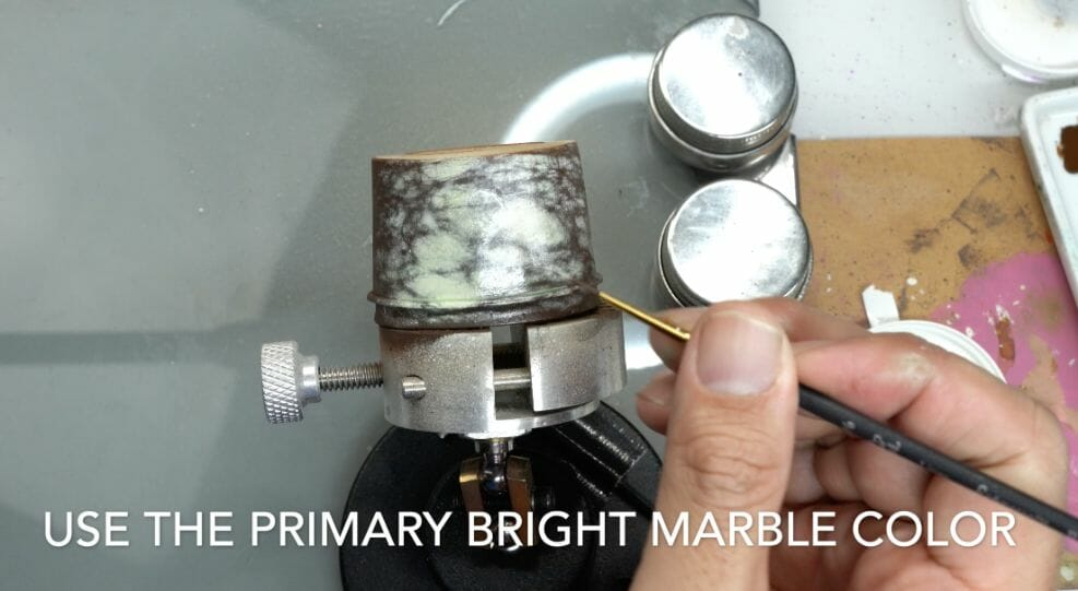 How to paint marble effects on miniatures – painting white marble – painting stone effect miniatures -how to paint marble on miniatures and models – airbrush stencil marble – marbleizing miniatures – airbrushing marble effect - freehand vein patterns for marble