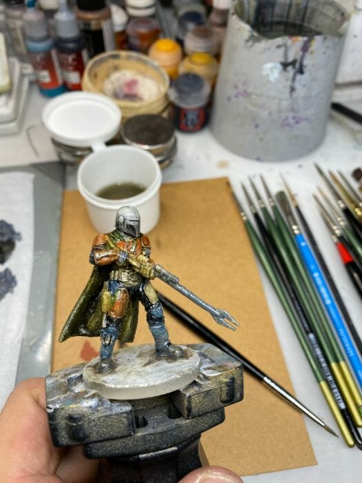 """Oil Painting the Star Wars """"Mandalorian"""" Alla Prima - how to paint a 3D printed resin model with oil paint - speed painting miniatures with oils - shiny!"""