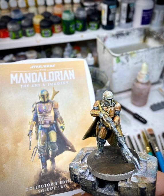 """Oil Painting the Star Wars """"Mandalorian"""" Alla Prima - how to paint a 3D printed resin model with oil paint - speed painting miniatures with oils - side by side with the reference photo paint the base"""