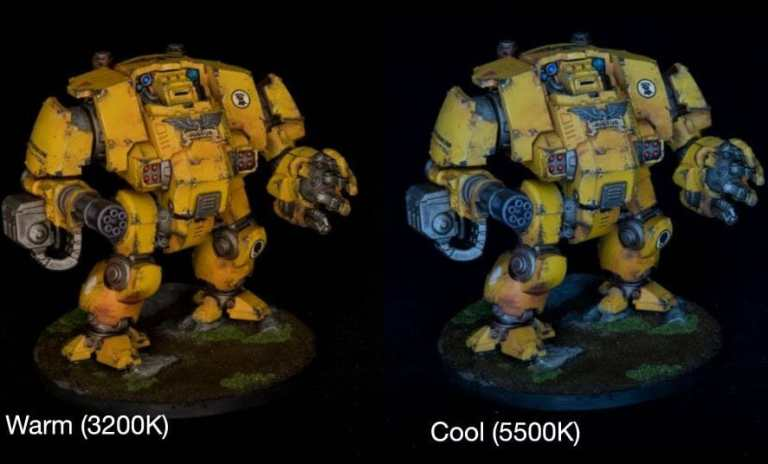 How to take better miniature pictures with a ring light - how to improve your miniature photography - why good light helps improve your miniature and model photography - yesker ring light review for miniature photography - Color temperature lighting differences on a primaris redemptor dreadnought model