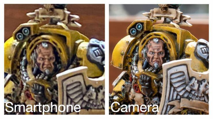 Best Camera for Miniature Photography: Smartphone vs Camera – how to take better pictures of miniatures and models – smartphone or camera for miniature photography – take better miniature photos with your smartphone – a comparison between smartphone and camera photos of models and miniatures – wargaming photography - cropped image between smartphone and camera with poor lighting conditions