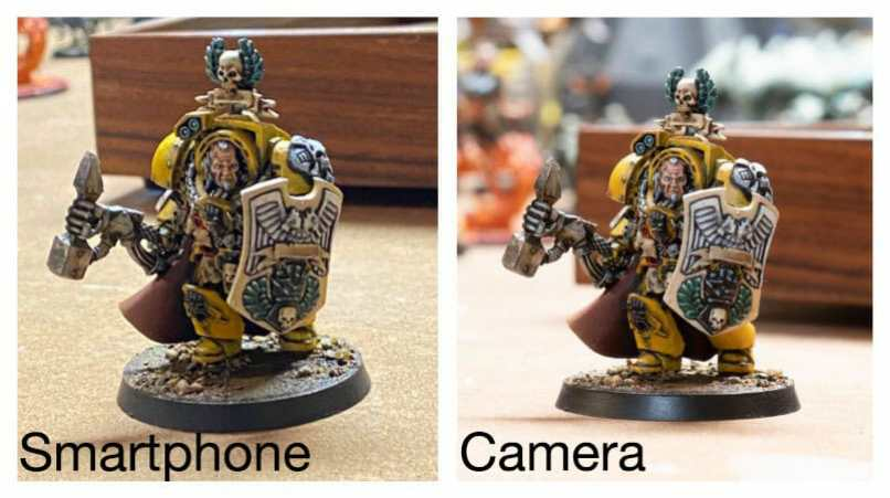 Best Camera for Miniature Photography: Smartphone vs Camera – how to take better pictures of miniatures and models – smartphone or camera for miniature photography – take better miniature photos with your smartphone – a comparison between smartphone and camera photos of models and miniatures – wargaming photography - poor ambient light photography