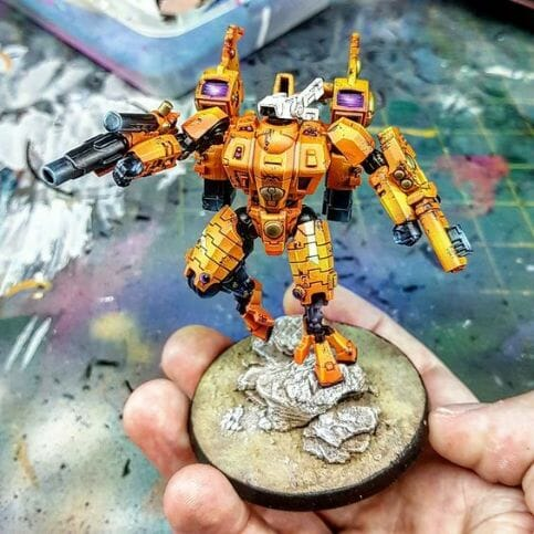 Tau sept color schemes, caste color schemes for Tau, T'au paint color scheme ideas – Grimdark Tau style, Blachitsu Tau painting, how to paint Tau miniatures, Games Workshop Tau paint schemes – How to paint grimdark Tau – painting Blanchitsu Tau - citrus orange