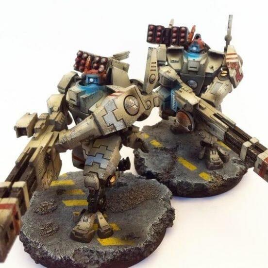 Tau sept color schemes, caste color schemes for Tau, T'au paint color scheme ideas – Grimdark Tau style, Blachitsu Tau painting, how to paint Tau miniatures, Games Workshop Tau paint schemes – How to paint grimdark Tau – painting Blanchitsu Tau - beige or sand color scheme