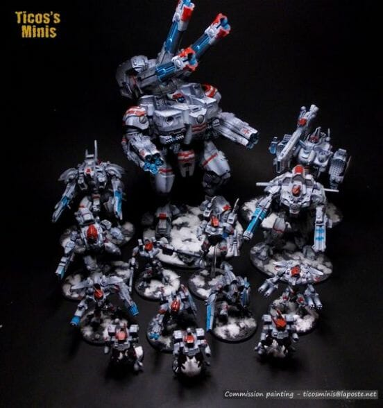 Tau sept color schemes, caste color schemes for Tau, T'au paint color scheme ideas – Grimdark Tau style, Blachitsu Tau painting, how to paint Tau miniatures, Games Workshop Tau paint schemes – How to paint grimdark Tau – painting Blanchitsu Tau - white main color theme