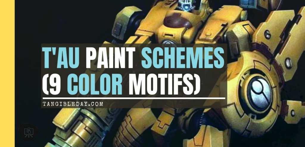 Tau sept color schemes, caste color schemes for Tau, T'au paint color scheme ideas – Grimdark Tau style, Blachitsu Tau painting, how to paint Tau miniatures, Games Workshop Tau paint schemes – How to paint grimdark Tau – painting Blanchitsu Tau - banner image