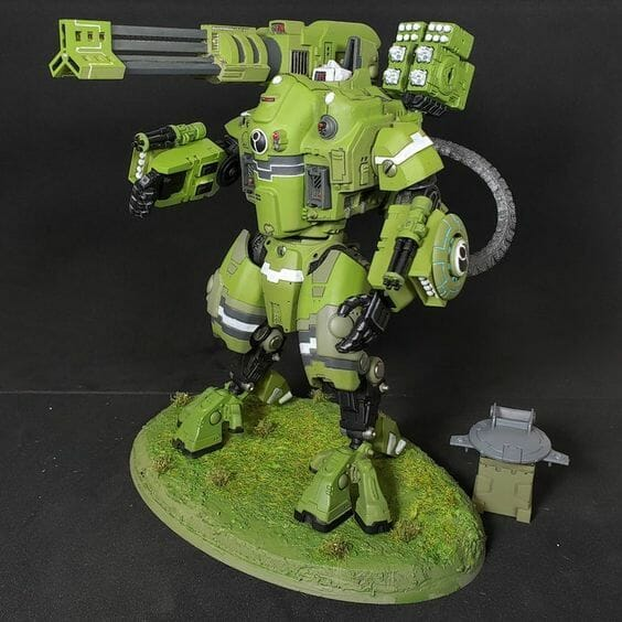 Tau sept color schemes, caste color schemes for Tau, T'au paint color scheme ideas – Grimdark Tau style, Blachitsu Tau painting, how to paint Tau miniatures, Games Workshop Tau paint schemes – How to paint grimdark Tau – painting Blanchitsu Tau - flat green tau