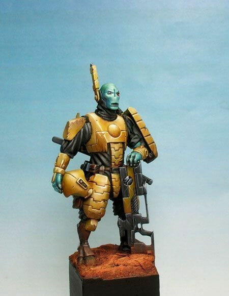 Tau sept color schemes, caste color schemes for Tau, T'au paint color scheme ideas – Grimdark Tau style, Blachitsu Tau painting, how to paint Tau miniatures, Games Workshop Tau paint schemes – How to paint grimdark Tau – painting Blanchitsu Tau - statue bust teal blue tau