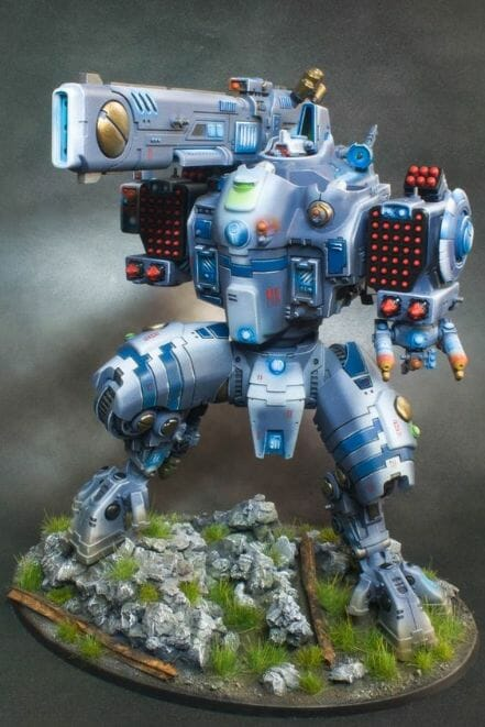Tau sept color schemes, caste color schemes for Tau, T'au paint color scheme ideas – Grimdark Tau style, Blachitsu Tau painting, how to paint Tau miniatures, Games Workshop Tau paint schemes – How to paint grimdark Tau – painting Blanchitsu Tau - blue tint and shade with white