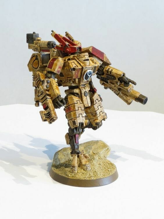 Tau sept color schemes, caste color schemes for Tau, T'au paint color scheme ideas – Grimdark Tau style, Blachitsu Tau painting, how to paint Tau miniatures, Games Workshop Tau paint schemes – How to paint grimdark Tau – painting Blanchitsu Tau - grimy yellow