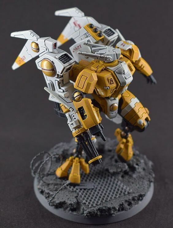 Tau sept color schemes, caste color schemes for Tau, T'au paint color scheme ideas – Grimdark Tau style, Blachitsu Tau painting, how to paint Tau miniatures, Games Workshop Tau paint schemes – How to paint grimdark Tau – painting Blanchitsu Tau - white and yellow