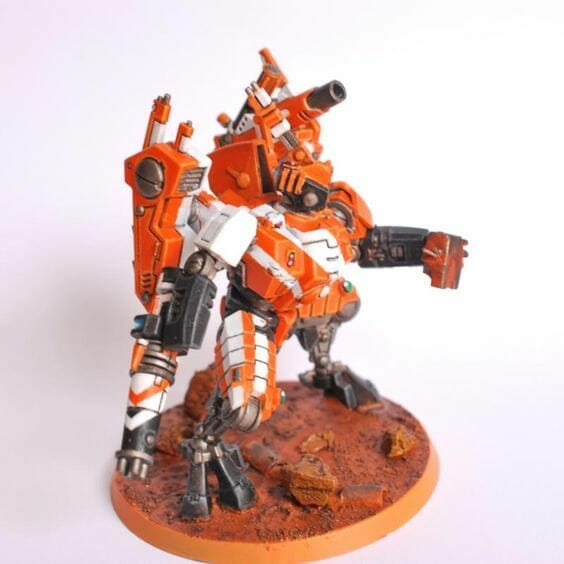 Tau sept color schemes, caste color schemes for Tau, T'au paint color scheme ideas – Grimdark Tau style, Blachitsu Tau painting, how to paint Tau miniatures, Games Workshop Tau paint schemes – How to paint grimdark Tau – painting Blanchitsu Tau - orange and white