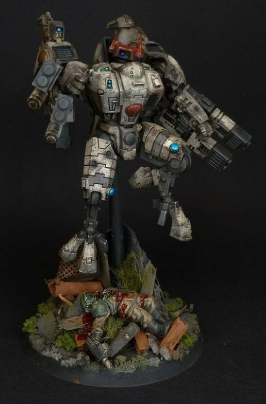 Tau sept color schemes, caste color schemes for Tau, T'au paint color scheme ideas – Grimdark Tau style, Blachitsu Tau painting, how to paint Tau miniatures, Games Workshop Tau paint schemes – How to paint grimdark Tau – painting Blanchitsu Tau - tau weathered and grime
