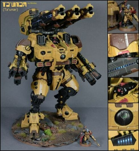 Tau sept color schemes, caste color schemes for Tau, T'au paint color scheme ideas – Grimdark Tau style, Blachitsu Tau painting, how to paint Tau miniatures, Games Workshop Tau paint schemes – How to paint grimdark Tau – painting Blanchitsu Tau - dark yellow