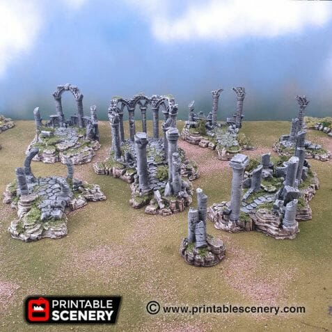 Best tabletop terrain on Etsy – Warhammer terrain – wargaming terrain – cool modular tabletop terrain – DIY wargaming terrain for 28mm games – RPG gaming terrain on Etsy - ruins aos fantasy ruin features