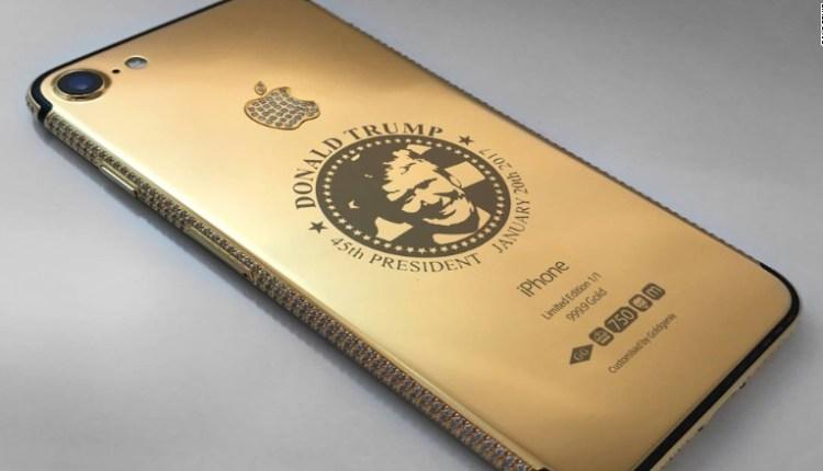 Sebuah Perusahaan  Membuat iPhone Emas Bergambar Muka Donald Trump