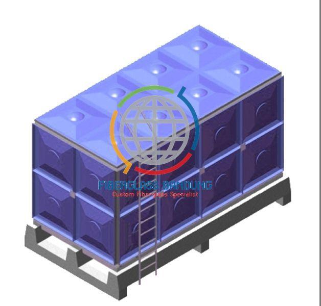 Tangki Air Kotak Fiber Sistem Knockdown