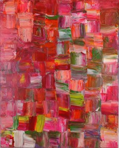 An abstract painting, the canvas is covered in organic square brush strokes in shades of red. Some stokes of green are visible in the center of the image
