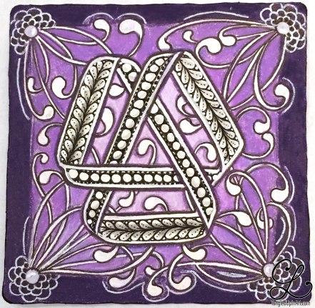 White gel ink and dark purple Zig pen to add contrast.