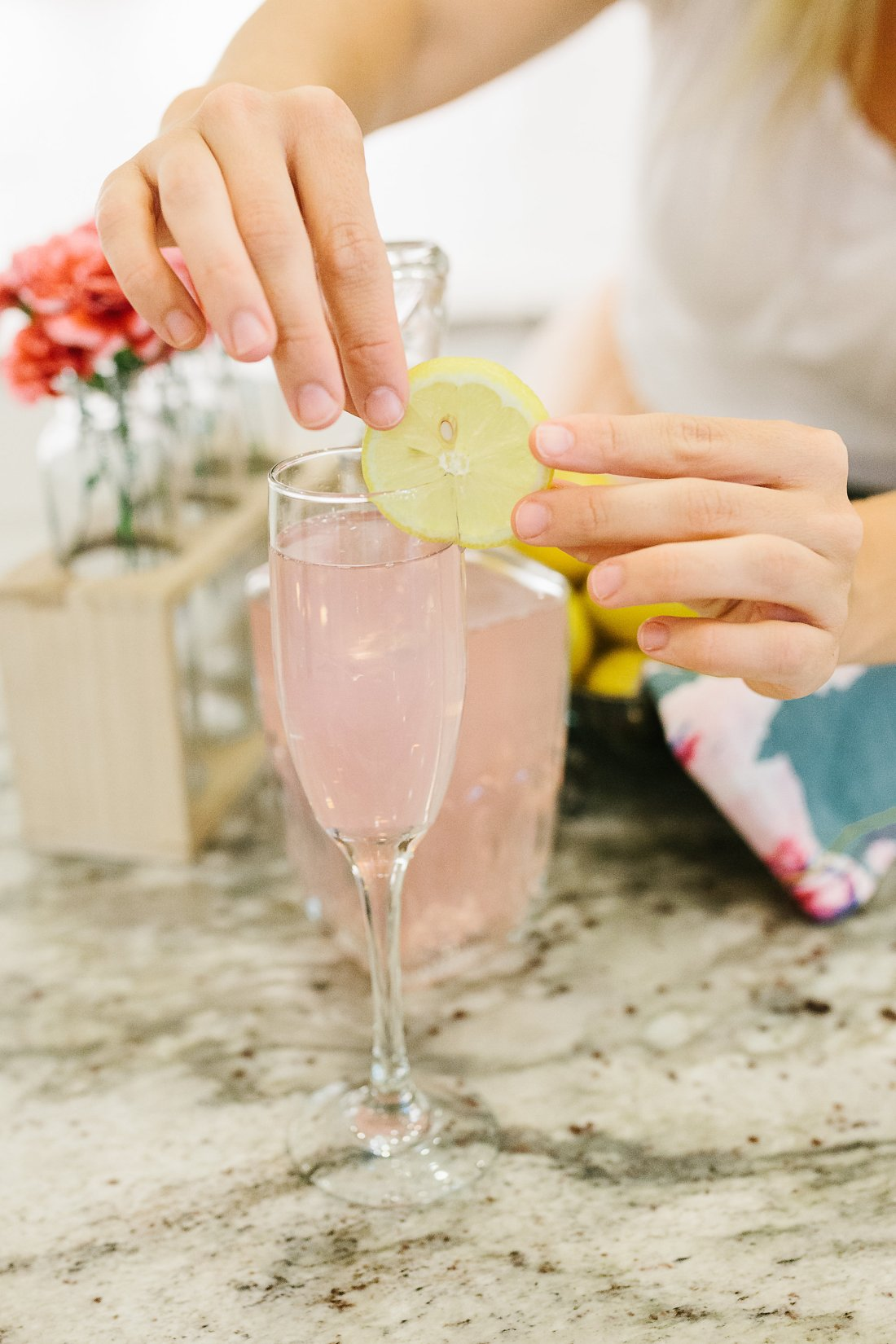CHampagne Lemonade Mocktail's by Flirting with Flavor