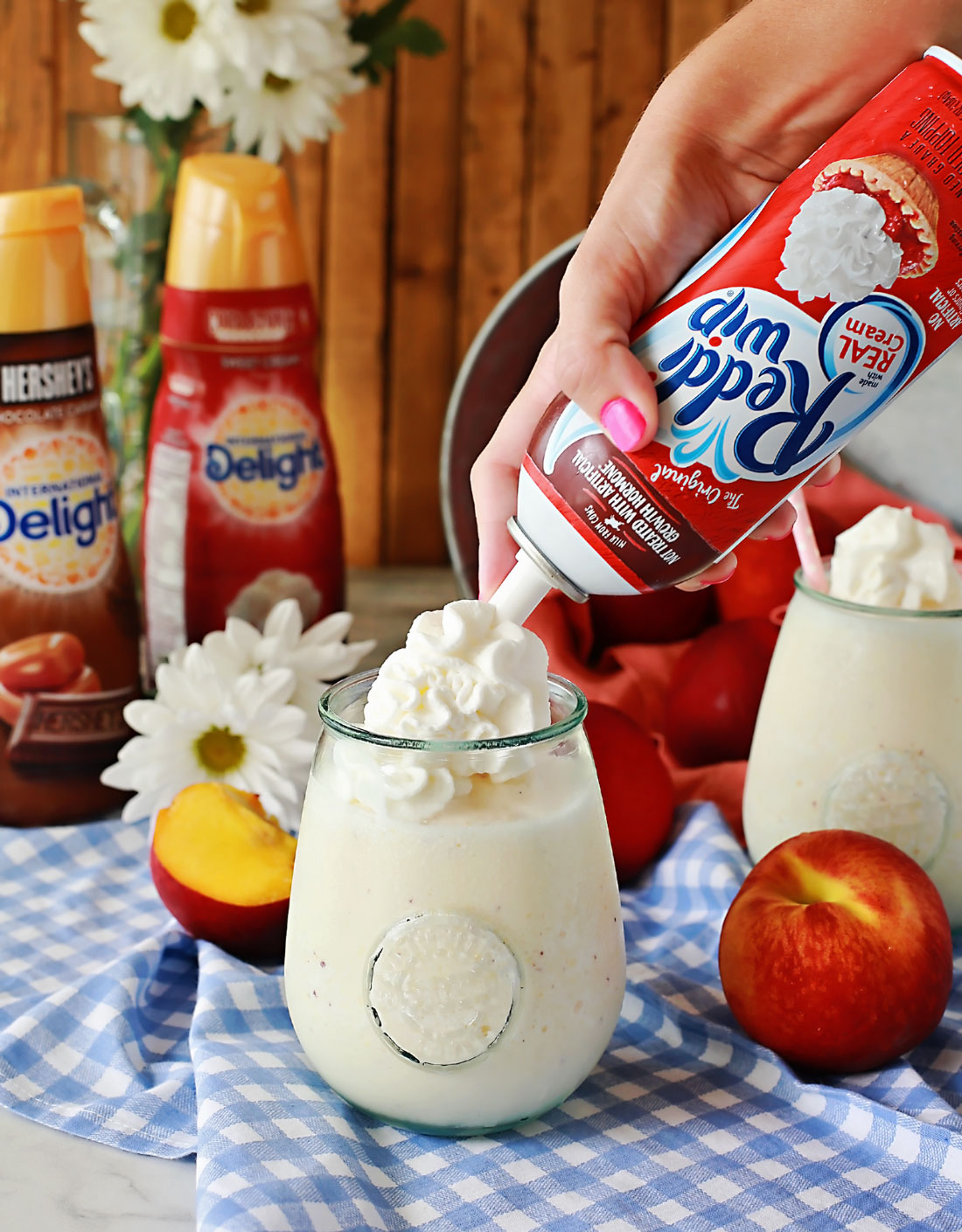 Peach Frappe topped with Reddi-wip by Flirting with Flavor!
